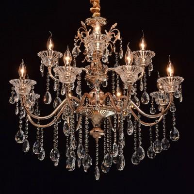 Mw light 482013312 СветильникПодвесные<br><br><br>Установка на натяжной потолок: Да<br>S освещ. до, м2: 24<br>Тип лампы: Накаливания / энергосбережения / светодиодная<br>Тип цоколя: E14<br>Цвет арматуры: золотой<br>Количество ламп: 12<br>Диаметр, мм мм: 850<br>Высота, мм: 950 - 1150<br>MAX мощность ламп, Вт: 40