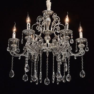 Mw light 482013606 СветильникПодвесные<br><br><br>Установка на натяжной потолок: Да<br>S освещ. до, м2: 12<br>Тип лампы: Накаливания / энергосбережения / светодиодная<br>Тип цоколя: E14<br>Количество ламп: 6<br>MAX мощность ламп, Вт: 40<br>Диаметр, мм мм: 650<br>Высота, мм: 650 - 1000<br>Цвет арматуры: серебристый