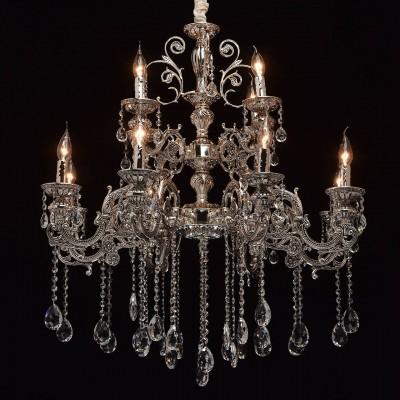Mw light 482013812 СветильникПодвесные<br><br><br>Установка на натяжной потолок: Да<br>S освещ. до, м2: 24<br>Тип лампы: Накаливания / энергосбережения / светодиодная<br>Тип цоколя: E14<br>Количество ламп: 12<br>MAX мощность ламп, Вт: 40<br>Диаметр, мм мм: 860<br>Высота, мм: 1150 - 1500<br>Цвет арматуры: серебристый