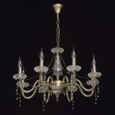 Mw light 482014308 СветильникПодвесные<br><br><br>S освещ. до, м2: 16<br>Тип лампы: Накаливания / энергосбережения / светодиодная<br>Тип цоколя: E14<br>Количество ламп: 8<br>MAX мощность ламп, Вт: 40<br>Диаметр, мм мм: 700<br>Высота, мм: 530 - 820<br>Цвет арматуры: бронзовый