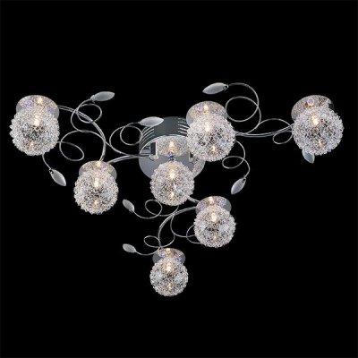 Люстра Евросвет 4830/7 хромПотолочные<br><br><br>Установка на натяжной потолок: Ограничено<br>S освещ. до, м2: 9<br>Крепление: Планка<br>Тип товара: светильник потолочный<br>Тип лампы: галогенная / LED-светодиодная<br>Тип цоколя: G4<br>Количество ламп: 7<br>MAX мощность ламп, Вт: 20<br>Диаметр, мм мм: 650<br>Высота, мм: 180<br>Цвет арматуры: серебристый