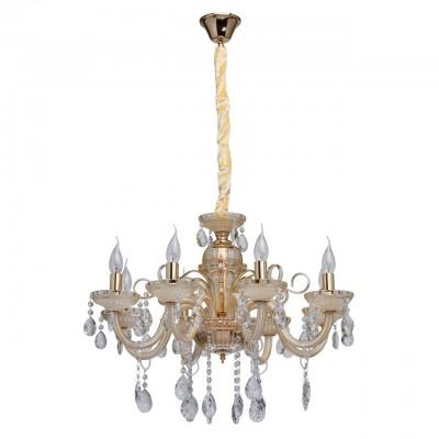 Mw light Элла 483012308 ЛюстраПодвесные<br><br><br>Установка на натяжной потолок: Да<br>S освещ. до, м2: 16<br>Тип лампы: Накаливания / энергосбережения / светодиодная<br>Тип цоколя: E14<br>Цвет арматуры: золотой<br>Количество ламп: 8<br>Диаметр, мм мм: 650<br>Высота, мм: 650 - 1100<br>MAX мощность ламп, Вт: 40
