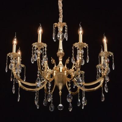 CHIARO Габриэль 491013008 ЛюстраПодвесные<br><br><br>Установка на натяжной потолок: Да<br>S освещ. до, м2: 16<br>Тип цоколя: E14<br>Количество ламп: 8<br>MAX мощность ламп, Вт: 40<br>Диаметр, мм мм: 800<br>Высота, мм: 1300<br>Цвет арматуры: золотой