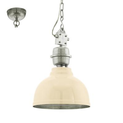 Eglo GRANTHAM 49172 Винтажный светильникПодвесные<br>Подвес GRANTHAM, 1х60W (E27), ?355, H1100, сталь, бежевый, хром применяется преимущественно в домашнем освещении с использованием стандартных выключателей и переключателей для сетей 220V.<br><br>S освещ. до, м2: 3<br>Тип цоколя: E27<br>Количество ламп: 1<br>MAX мощность ламп, Вт: 60<br>Диаметр, мм мм: 355<br>Высота, мм: 1100<br>Цвет арматуры: бежевый, хром