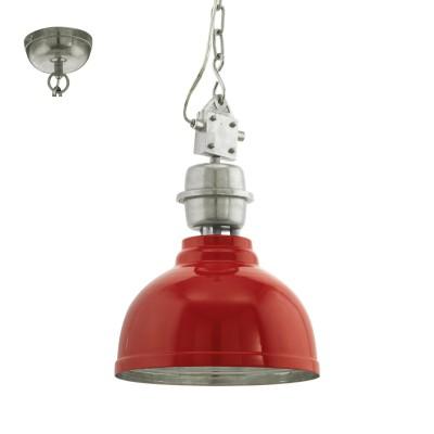 Eglo GRANTHAM 49177 Винтажный светильникОдиночные<br>Подвес GRANTHAM, 1х60W (E27), ?355, H1100, сталь, красный, хром применяется преимущественно в домашнем освещении с использованием стандартных выключателей и переключателей для сетей 220V.<br><br>S освещ. до, м2: 3<br>Тип цоколя: E27<br>Цвет арматуры: красный, хром<br>Количество ламп: 1<br>Диаметр, мм мм: 355<br>Высота, мм: 1100<br>MAX мощность ламп, Вт: 60