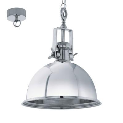 Eglo GRANTHAM 49179 Винтажный светильникОдиночные<br>Подвес GRANTHAM, 1х60W (E27), ?480, H1100, сталь, хром применяется преимущественно в домашнем освещении с использованием стандартных выключателей и переключателей для сетей 220V.<br><br>S освещ. до, м2: 3<br>Тип цоколя: E27<br>Количество ламп: 1<br>MAX мощность ламп, Вт: 60<br>Диаметр, мм мм: 480<br>Высота, мм: 1100<br>Цвет арматуры: серебристый хром