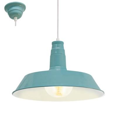 Eglo VINTAGE 49253 Подвес 1х60W, E27, мятныйОдиночные<br><br><br>S освещ. до, м2: 3<br>Тип лампы: Накаливания / энергосбережения / светодиодная<br>Тип цоколя: E27<br>Количество ламп: 1<br>MAX мощность ламп, Вт: 60<br>Диаметр, мм мм: 365<br>Высота, мм: 1100