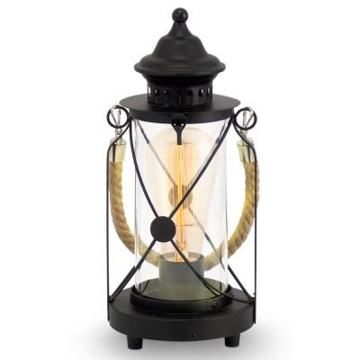 Eglo BRADFORD 49283 Настольная лампаМорской стиль<br>Настольная лампа – это не просто источник дополнительного освещения, но и оригинальный элемент декора. Его можно установить в спальне, гостиной, кабинете и других комнатах. Интернет-магазин «Светодом» предлагает настольные лампы разных стилей по доступным ценам. Благодаря большому ассортименту Вы обязательно найдете в нашем каталоге именно ту модель, которую искали.   Настольная лампа Eglo 49283 – прекрасный вариант для завершения интерьера. Ее можно включить одновременно с люстрой для более яркого освещения или без нее для создания уютной атмосферы, настраивающей на отдых.   Купить настольную лампу Eglo 49283 Вы можете с помощью виртуальной «Корзины» или по контактным номерам, указанным на сайте.<br><br>Тип лампы: Накаливания / энергосбережения / светодиодная<br>Тип цоколя: E27<br>Количество ламп: 1<br>MAX мощность ламп, Вт: 2<br>Диаметр, мм мм: 140<br>Размеры основания, мм: 0<br>Высота, мм: 330<br>Оттенок (цвет): прозрачный<br>Цвет арматуры: черный<br>Общая мощность, Вт: 1X60W