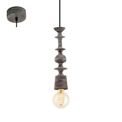 Eglo AVOLTRI 49375 Винтажный светильникОдиночные<br>Подвес AVOLTRI, 1x60W (E27), ?70, дерево, патина, черный применяется преимущественно в домашнем освещении с использованием стандартных выключателей и переключателей для сетей 220V.<br><br>S освещ. до, м2: 3<br>Тип цоколя: E27<br>Количество ламп: 1<br>MAX мощность ламп, Вт: 60<br>Диаметр, мм мм: 70<br>Высота, мм: 1100<br>Цвет арматуры: черный, патина