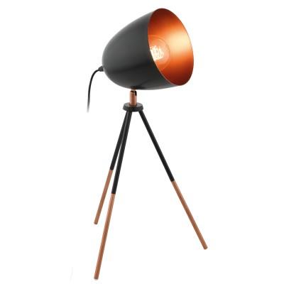 Eglo CHESTER 49385 Настольная лампаХай тек<br>Настольная лампа CHESTER на треноге, 1x60W (E27), H440, сталь, черный, медный применяется преимущественно в домашнем освещении с использованием стандартных выключателей и переключателей для сетей 220V.<br><br>Тип цоколя: E27<br>Цвет арматуры: черный, медный<br>Количество ламп: 1<br>Ширина, мм: 290<br>Длина, мм: 290<br>Высота, мм: 440<br>MAX мощность ламп, Вт: 60