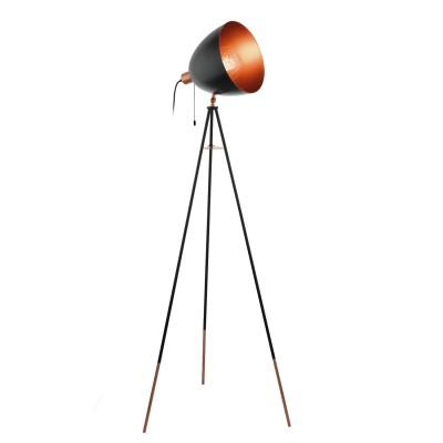 Eglo CHESTER 49386 Торшер напольныйХай-тек<br>Торшер СHESTER на треноге, 1x60W (E27), H1355, сталь, черный, медный, шнур. выкл применяется преимущественно в домашнем освещении с использованием стандартных выключателей и переключателей для сетей 220V.<br><br>Тип цоколя: E27<br>Количество ламп: 1<br>Ширина, мм: 600<br>MAX мощность ламп, Вт: 60<br>Длина, мм: 600<br>Высота, мм: 1355<br>Цвет арматуры: медный