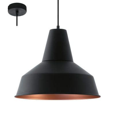 Eglo SOMERTON 49387 Винтажный светильникОдиночные<br>Подвес SOMERTON, 1х60W (E27), ?350, сталь, черный, медный применяется преимущественно в домашнем освещении с использованием стандартных выключателей и переключателей для сетей 220V.<br><br>S освещ. до, м2: 3<br>Тип цоколя: E27<br>Цвет арматуры: черный, медный<br>Количество ламп: 1<br>Диаметр, мм мм: 350<br>Высота, мм: 1100<br>MAX мощность ламп, Вт: 60