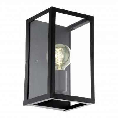 Eglo CHARTERHOUSE 49394 Светильник настенный браХай-тек<br><br><br>Тип цоколя: E27<br>Цвет арматуры: черный<br>Размеры основания, мм: 0<br>Длина, мм: 160<br>Расстояние от стены, мм: 150<br>Высота, мм: 280<br>Оттенок (цвет): прозрачный<br>MAX мощность ламп, Вт: 2<br>Общая мощность, Вт: 1X60W