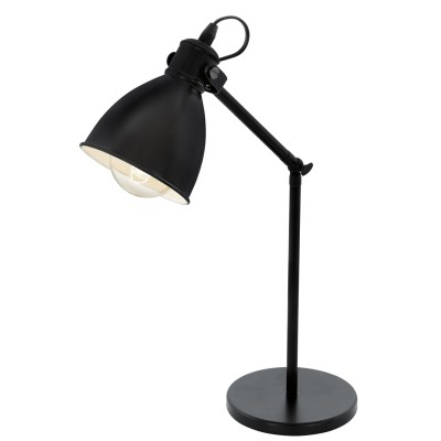 Eglo PRIDDY 49469 Настольная лампаОфисные<br>Настольная лампа – это не просто источник дополнительного освещения, но и оригинальный элемент декора. Его можно установить в спальне, гостиной, кабинете и других комнатах. Интернет-магазин «Светодом» предлагает настольные лампы разных стилей по доступным ценам. Благодаря большому ассортименту Вы обязательно найдете в нашем каталоге именно ту модель, которую искали. <br> Настольная лампа Eglo 49469 – прекрасный вариант для завершения интерьера. Ее можно включить одновременно с люстрой для более яркого освещения или без нее для создания уютной атмосферы, настраивающей на отдых. <br> Купить настольную лампу Eglo 49469 Вы можете с помощью виртуальной «Корзины» или по контактным номерам, указанным на сайте.<br><br>Тип цоколя: E27<br>MAX мощность ламп, Вт: 2<br>Размеры основания, мм: 155<br>Высота, мм: 425<br>Цвет арматуры: черный<br>Общая мощность, Вт: 1X40W