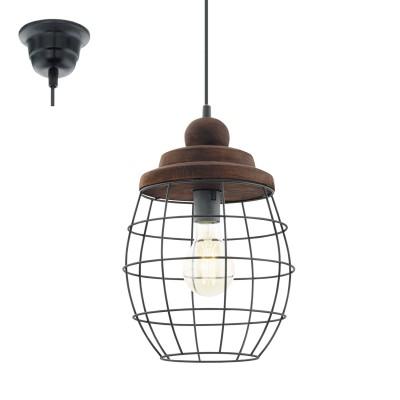 Eglo BAMPTON 49499 Винтажный светильникОдиночные<br>Подвес BAMPTON, 1x60W (E27), ?240, сталь, черный/дерево, патина, коричневый,  применяется преимущественно в домашнем освещении с использованием стандартных выключателей и переключателей для сетей 220V.<br><br>S освещ. до, м2: 3<br>Тип цоколя: E27<br>Цвет арматуры: черный<br>Количество ламп: 1<br>Диаметр, мм мм: 240<br>Высота, мм: 1100<br>MAX мощность ламп, Вт: 60