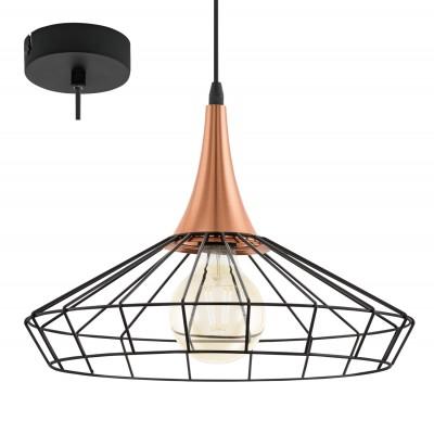 Eglo LOGGANS 49605 Подвесной светильникПодвесные<br><br><br>Установка на натяжной потолок: Да<br>S освещ. до, м2: 2<br>Тип лампы: Накаливания / энергосбережения / светодиодная<br>Тип цоколя: E27<br>Количество ламп: 1<br>Диаметр, мм мм: 380<br>Высота, мм: 1200<br>MAX мощность ламп, Вт: 40