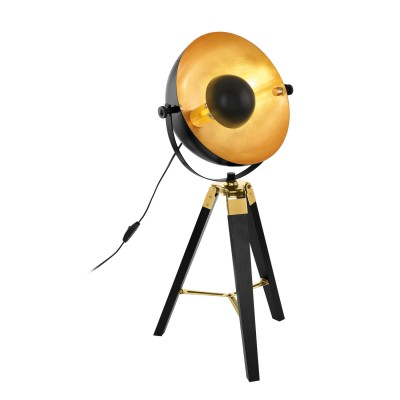 Светильник Eglo 49617настольные лампы лофт<br><br><br>Тип лампы: Накаливания / энергосбережения / светодиодная<br>Тип цоколя: E27<br>Цвет арматуры: черный<br>Количество ламп: 1<br>Диаметр, мм мм: 380<br>Высота полная, мм: 735<br>Поверхность арматуры: матовая<br>Оттенок (цвет): черный<br>MAX мощность ламп, Вт: 60