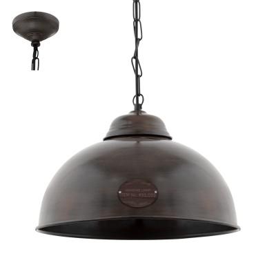 Eglo TRURO 2 49632 Винтажный светильникОдиночные<br>Подвес TRURO 2, 1х60W (E27), ?365, сталь, коричневый состаренный применяется преимущественно в домашнем освещении с использованием стандартных выключателей и переключателей для сетей 220V.<br><br>S освещ. до, м2: 3<br>Тип цоколя: E27<br>Цвет арматуры: коричневый состаренный<br>Количество ламп: 1<br>Диаметр, мм мм: 365<br>Высота, мм: 1100<br>MAX мощность ламп, Вт: 60