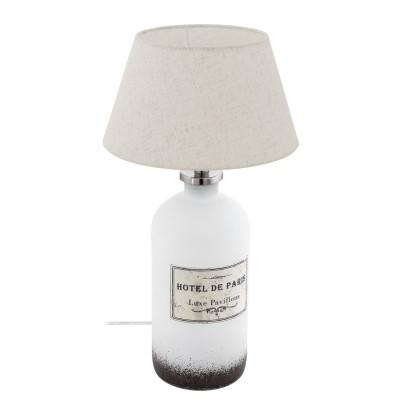 Eglo ROSEDDAL 49663 Настольная лампаСовременные<br>Настольная лампа ROSSEDAL, 1х40W(E27), ?300, H440, cтекло, белый/текстиль, кремовый применяется преимущественно в домашнем освещении с использованием стандартных выключателей и переключателей для сетей 220V.<br><br>Тип цоколя: E27<br>Цвет арматуры: белый<br>Количество ламп: 1<br>Диаметр, мм мм: 300<br>Высота, мм: 440<br>MAX мощность ламп, Вт: 40