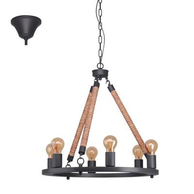 Eglo FINDLAY 49694 Подвесной светильникподвесные люстры кантри стиля<br><br><br>Установка на натяжной потолок: Да<br>S освещ. до, м2: 18<br>Тип лампы: Накаливания / энергосбережения / светодиодная<br>Тип цоколя: E27<br>Количество ламп: 6<br>Диаметр, мм мм: 560<br>Высота, мм: 1500<br>MAX мощность ламп, Вт: 60