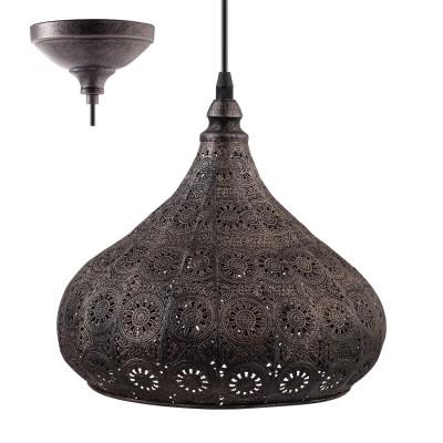 Eglo MELILLA 49714 Подвесной светильникПодвесные<br><br><br>Установка на натяжной потолок: Да<br>S освещ. до, м2: 3<br>Тип лампы: Накаливания / энергосбережения / светодиодная<br>Тип цоколя: E27<br>Количество ламп: 1<br>Диаметр, мм мм: 285<br>Высота, мм: 1100<br>MAX мощность ламп, Вт: 60