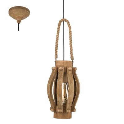 Eglo KINROSS 49725 Подвесной светильникОдиночные<br><br><br>S освещ. до, м2: 3<br>Тип лампы: Накаливания / энергосбережения / светодиодная<br>Тип цоколя: E27<br>Количество ламп: 1<br>MAX мощность ламп, Вт: 60<br>Диаметр, мм мм: 185<br>Высота, мм: 1100