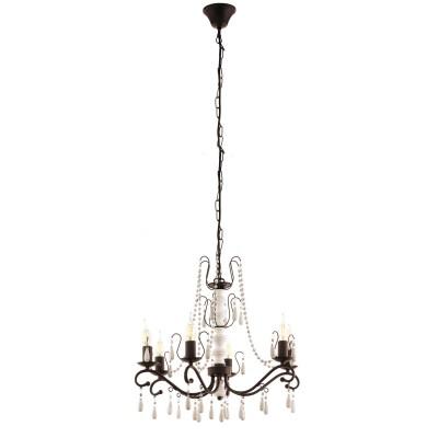 Eglo CHATTISHAM 49731 Подвесной светильникПодвесные<br><br><br>Установка на натяжной потолок: Да<br>S освещ. до, м2: 12<br>Рекомендуемые колбы ламп: Свеча на ветру<br>Крепление: Крюк<br>Тип лампы: накаливания / энергосбережения / LED-светодиодная<br>Тип цоколя: E14<br>Цвет арматуры: белый/коричневый<br>Количество ламп: 6<br>Диаметр, мм мм: 570<br>Высота полная, мм: 1100<br>Поверхность арматуры: матовая<br>Оттенок (цвет): коричневый<br>MAX мощность ламп, Вт: 40<br>Общая мощность, Вт: 240