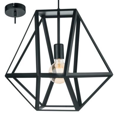Eglo EMBLETON 49756 Подвесной светильникподвесные люстры лофт<br><br><br>Установка на натяжной потолок: Да<br>S освещ. до, м2: 3<br>Тип лампы: Накаливания / энергосбережения / светодиодная<br>Тип цоколя: E27<br>Количество ламп: 1<br>Диаметр, мм мм: 460<br>Высота, мм: 1500<br>MAX мощность ламп, Вт: 60