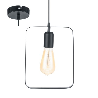 Eglo BEDINGTON 49776 Подвесной светильникОдиночные<br><br><br>S освещ. до, м2: 3<br>Тип лампы: Накаливания / энергосбережения / светодиодная<br>Тип цоколя: E27<br>Количество ламп: 1<br>MAX мощность ламп, Вт: 60<br>Диаметр, мм мм: 200<br>Высота, мм: 1100