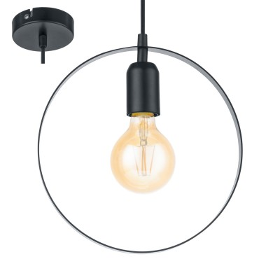 Eglo BEDINGTON 49784 Подвесной светильникОдиночные<br><br><br>Тип лампы: Накаливания / энергосбережения / светодиодная<br>Тип цоколя: E27<br>Количество ламп: 1<br>MAX мощность ламп, Вт: 60<br>Диаметр, мм мм: 250<br>Высота, мм: 1100