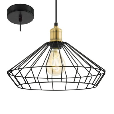 Eglo DENHAM 49788 Подвесной светильникОдиночные<br><br><br>S освещ. до, м2: 3<br>Тип лампы: Накаливания / энергосбережения / светодиодная<br>Тип цоколя: E27<br>Количество ламп: 1<br>MAX мощность ламп, Вт: 60<br>Диаметр, мм мм: 355<br>Высота, мм: 1100
