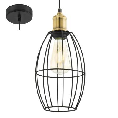 Eglo DENHAM 49789 Подвесной светильникОдиночные<br><br><br>S освещ. до, м2: 3<br>Тип лампы: Накаливания / энергосбережения / светодиодная<br>Тип цоколя: E27<br>Количество ламп: 1<br>Диаметр, мм мм: 155<br>Высота, мм: 1100<br>MAX мощность ламп, Вт: 60