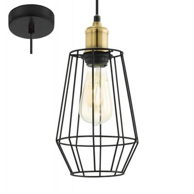 Eglo DENHAM 49791 Подвесной светильникОдиночные<br><br><br>S освещ. до, м2: 3<br>Тип лампы: Накаливания / энергосбережения / светодиодная<br>Тип цоколя: E27<br>Количество ламп: 1<br>MAX мощность ламп, Вт: 60<br>Диаметр, мм мм: 155<br>Высота, мм: 1100