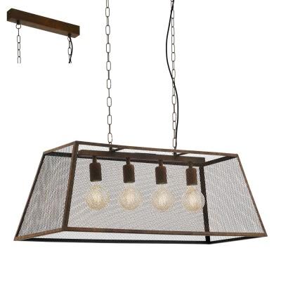 Eglo AMESBURY 49799 Подвесной светильникПодвесные<br><br><br>S освещ. до, м2: 12<br>Тип лампы: Накаливания / энергосбережения / светодиодная<br>Тип цоколя: E27<br>Количество ламп: 4<br>Ширина, мм: 380<br>MAX мощность ламп, Вт: 60<br>Длина, мм: 950<br>Высота, мм: 1100