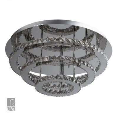 Светильник потолочный Regenbogen life 498011303 Гослар/GoslarПотолочные<br>Описание модели 498011303: Если вы хотите выделиться и любите смелые композиционные решения, необычный светодиодный светильник из коллекции Гослар создан специально для вас. Выполненный в стиле минимализм, он органично впишется практически в любую обстановку. Основание сделано из металла цвета хрома, светодиоды интегрированы в корпус светильника. Верхняя часть основания из нержавеющей стали с полированной зеркальной поверхностью придает световым лучам дополнительный объем и яркость. Теплый рассеянный свет от люстры Гослар, создает уют и некоторую таинственность в интерьере.<br><br>Установка на натяжной потолок: Да<br>S освещ. до, м2: 23<br>Крепление: Планка<br>Тип лампы: LED<br>Тип цоколя: LED<br>Количество ламп: 108<br>MAX мощность ламп, Вт: 0,5<br>Диаметр, мм мм: 700<br>Высота, мм: 350<br>Цвет арматуры: серебристый
