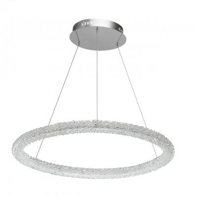 Светильник CHIARO 498014001подвесные хрустальные люстры<br><br><br>S освещ. до, м2: 32<br>Цветовая t, К: 4000<br>Тип лампы: LED-светодиодная<br>Тип цоколя: LED<br>Цвет арматуры: серебристый<br>Количество ламп: 1<br>Диаметр, мм мм: 750<br>Высота полная, мм: 1500<br>Высота, мм: 100<br>Общая мощность, Вт: 80