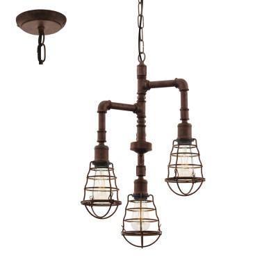 Eglo PORT SETON 49808 Подвесной светильникподвесные люстры лофт<br><br><br>Установка на натяжной потолок: Да<br>S освещ. до, м2: 9<br>Тип лампы: Накаливания / энергосбережения / светодиодная<br>Тип цоколя: E27<br>Количество ламп: 3<br>Диаметр, мм мм: 360<br>Высота, мм: 1100<br>MAX мощность ламп, Вт: 60