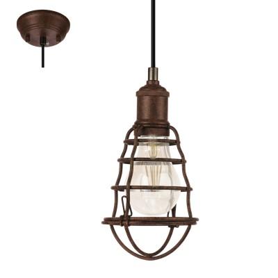 Eglo PORT SETON 49809 Подвесной светильникОдиночные<br><br><br>Тип лампы: Накаливания / энергосбережения / светодиодная<br>Тип цоколя: E27<br>Количество ламп: 1<br>MAX мощность ламп, Вт: 60<br>Диаметр, мм мм: 130<br>Высота, мм: 1100