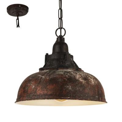 Eglo GRANTHAM 1 49819 Подвесной светильникОдиночные<br><br><br>Тип лампы: Накаливания / энергосбережения / светодиодная<br>Тип цоколя: E27<br>Количество ламп: 1<br>Диаметр, мм мм: 370<br>Высота, мм: 1100<br>MAX мощность ламп, Вт: 60