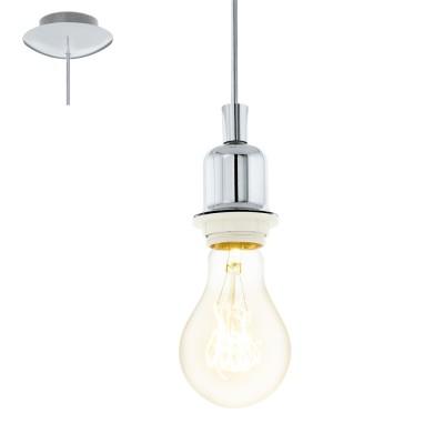 Eglo WELLS 49857 Винтажный светильникОдиночные<br>Подвес WELLS, 1x60W (E27), ?120, H1100, сталь, хром применяется преимущественно в домашнем освещении с использованием стандартных выключателей и переключателей для сетей 220V.<br><br>S освещ. до, м2: 3<br>Тип цоколя: E27<br>Количество ламп: 1<br>MAX мощность ламп, Вт: 60<br>Диаметр, мм мм: 120<br>Высота, мм: 1100<br>Цвет арматуры: серебристый хром