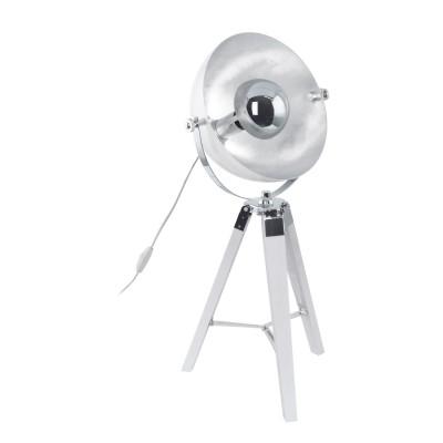 Светильник Eglo 49876Лофт<br><br><br>Тип лампы: Накаливания / энергосбережения / светодиодная<br>Тип цоколя: E27<br>Цвет арматуры: серебристый/белый<br>Количество ламп: 1<br>Диаметр, мм мм: 380<br>Высота, мм: 735<br>Поверхность арматуры: матовая<br>Оттенок (цвет): серебристый<br>MAX мощность ламп, Вт: 60
