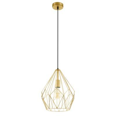 Подвес Eglo 49933 CARLTONодиночные подвесные светильники<br><br><br>Тип лампы: Накаливания / энергосбережения / светодиодная<br>Тип цоколя: E27<br>Цвет арматуры: золотой<br>Количество ламп: 1<br>Диаметр, мм мм: 310<br>Высота полная, мм: 1100<br>Поверхность арматуры: матовая<br>Оттенок (цвет): золотой<br>MAX мощность ламп, Вт: 60