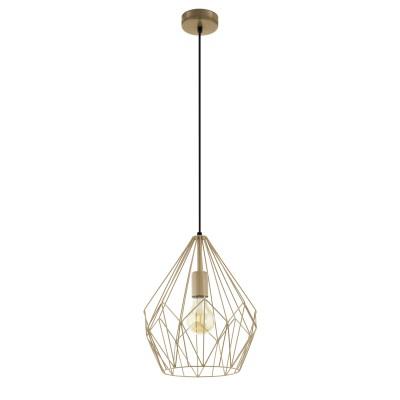 Подвес Eglo 49934 CARLTONодиночные подвесные светильники<br><br><br>Тип лампы: Накаливания / энергосбережения / светодиодная<br>Тип цоколя: E27<br>Цвет арматуры: золотой<br>Количество ламп: 1<br>Диаметр, мм мм: 310<br>Высота полная, мм: 1100<br>Поверхность арматуры: матовая<br>Оттенок (цвет): золотой<br>MAX мощность ламп, Вт: 60