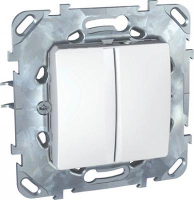 Выключатель 2-клавишный белый MGU5.211.18ZDUnica белый<br>Технические характеристикиМеханизм: выключатель.Модульность: 2.Размеры: 70,9 х 70,9 мм.Степень защиты: IP40.Номинальное напряжение: 250 В~.Сечение провода: 2,5 мм2.Походящие накладки: все MGU6.002.хх.Дополнительная информация:Материал - цинковый сплав,схема 5.<br><br>Оттенок (цвет): Белый