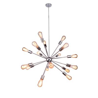 Светильник Divinare 5011/02 SP-18Подвесные<br><br><br>Установка на натяжной потолок: Да<br>S освещ. до, м2: 54<br>Тип лампы: Накаливания / энергосбережения / светодиодная<br>Тип цоколя: E27<br>Количество ламп: 18<br>MAX мощность ламп, Вт: 60<br>Диаметр, мм мм: 800<br>Высота, мм: 800 - 1200