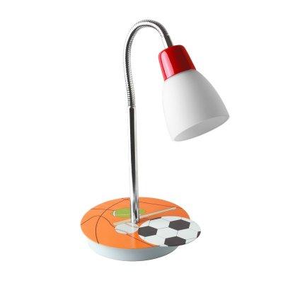 Детский светильник Colosseo 50205/1T CalcioДля детской<br>Настольная лампа – это не просто источник дополнительного освещения, но и оригинальный элемент декора. Его можно установить в спальне, гостиной, кабинете и других комнатах. Интернет-магазин «Светодом» предлагает настольные лампы разных стилей по доступным ценам. Благодаря большому ассортименту Вы обязательно найдете в нашем каталоге именно ту модель, которую искали. <br> Настольная лампа Colosseo 50205/1T – прекрасный вариант для завершения интерьера. Ее можно включить одновременно с люстрой для более яркого освещения или без нее для создания уютной атмосферы, настраивающей на отдых. <br> Купить настольную лампу Colosseo 50205/1T Вы можете с помощью виртуальной «Корзины» или по контактным номерам, указанным на сайте.<br><br>S освещ. до, м2: 2<br>Тип лампы: накал-я - энергосбер-я<br>Тип цоколя: E14<br>Цвет арматуры: серебристый<br>Количество ламп: 1<br>Ширина, мм: 180<br>Высота, мм: 350<br>MAX мощность ламп, Вт: 40