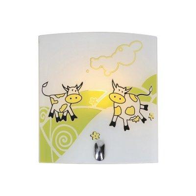 Светильник бра коровы Colosseo 51001/1W VILLAGGIOНакладные<br>Детская комната Вашего ребёнка заслуживает особого подхода к вопросу освещения, где основополагающими факторами будет не только яркость потоков лучей, но и соответствующая эстетика предметов интерьера. Предлагаем милый и очаровательный стиль для лучшего сияния! Настенно-потолочный светильник Colosseo 51001/1W исполнен в фантазийных детских мотивах: добрые коровы, нежные облака, солнечные цветы. Гармоничное сочетание белоснежного и жёлтого оттенков позволит украсить комнату, наполнив её позитивным настроением на каждый день.<br><br>S освещ. до, м2: 4<br>Тип лампы: накаливания / энергосбережения / LED-светодиодная<br>Тип цоколя: E27<br>Количество ламп: 1<br>Ширина, мм: 200<br>MAX мощность ламп, Вт: 60<br>Расстояние от стены, мм: 90<br>Высота, мм: 220