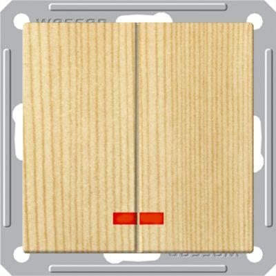 Выключатель Wessen 59 с/у без рамки 2КЛ.С индик. (250В, 16АХ) сосна (VS516-251-7-86)Сосна<br><br><br>Оттенок (цвет): под дерево