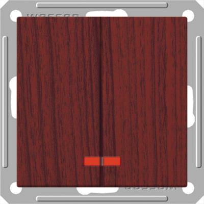 Выключатель Wessen 59 с/у без рамки 2КЛ.С индик. (250В, 16АХ) мореный дуб (VS516-251-9-86)Мореный дуб<br><br><br>Оттенок (цвет): под дерево