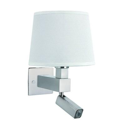 Настенный светильник бра Mantra 5234+5237+5170 BAHIAсовременные бра модерн<br><br><br>Тип лампы: Накаливания / энергосбережения / светодиодная<br>Тип цоколя: E27/LED<br>Цвет арматуры: серебристый никель<br>Количество ламп: 2<br>Ширина, мм: 215<br>Расстояние от стены, мм: 200<br>Высота, мм: 334<br>MAX мощность ламп, Вт: 40/3